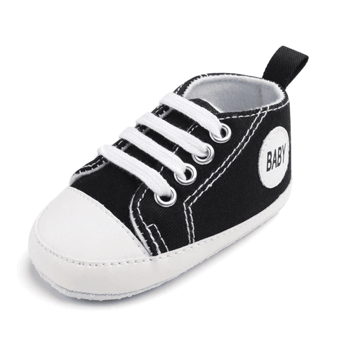 Image of Little Bumper Baby Shoes Baby B / 0-6 Months / United States Classic Canvas Unisex Baby Soft Sole Sneakers