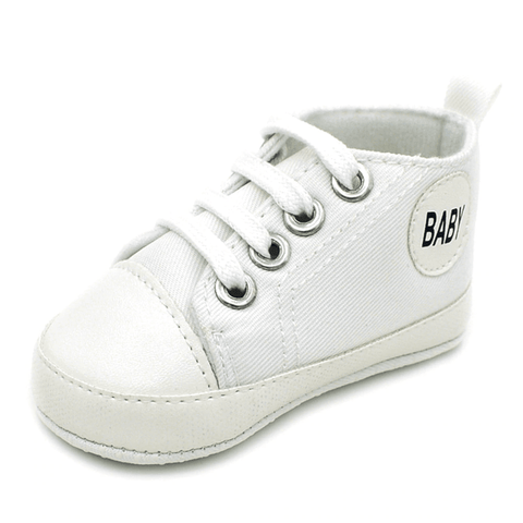 Image of Little Bumper Baby Shoes Baby W / 13-18 Months / United States Classic Canvas Unisex Baby Soft Sole Sneakers