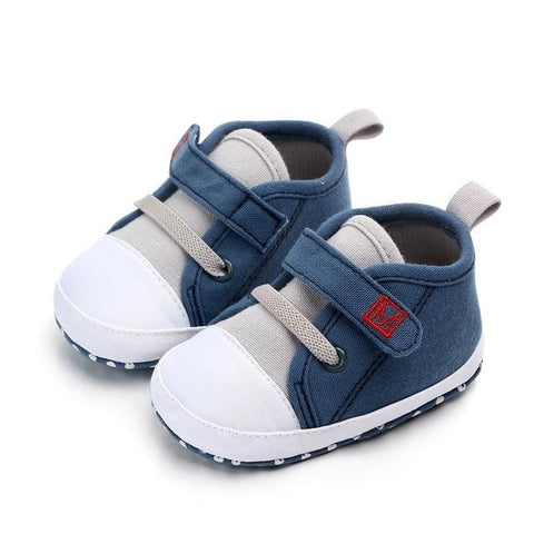 Image of Little Bumper Baby Shoes Blue / 3 / United States Canvas Letter First Walkers Soft  Shoes