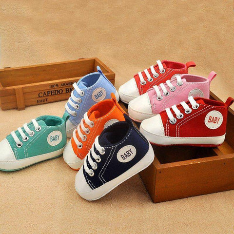 Image of Little Bumper Baby Shoes Classic Canvas Unisex Baby Soft Sole Sneakers