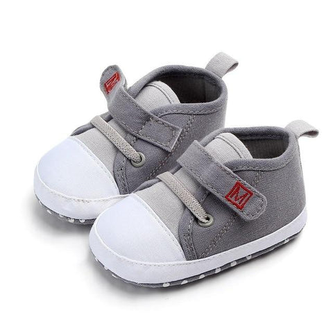 Image of Little Bumper Baby Shoes Gray / 3 / United States Canvas Letter First Walkers Soft  Shoes
