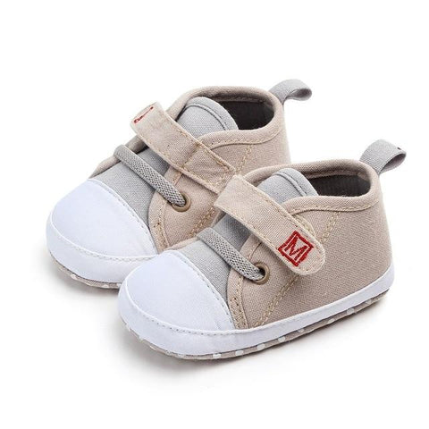 Image of Little Bumper Baby Shoes Khaki / 3 / United States Canvas Letter First Walkers Soft  Shoes