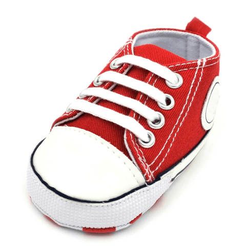 Image of Little Bumper Baby Shoes Star R / 13-18 Months / United States Classic Canvas Unisex Baby Soft Sole Sneakers