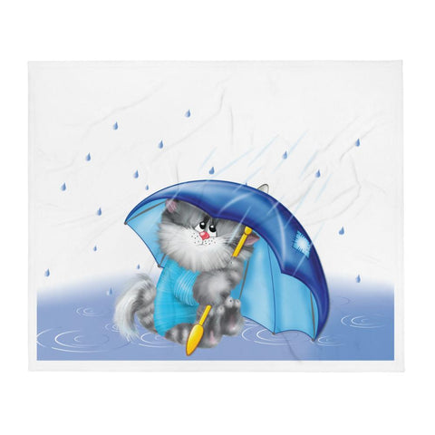Little Bumper Cats with Umbrella Throw Blanket