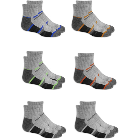 Little Bumper Children Clothes 18 Pairs Fruit of the Loom Boys Half Cushion Ankle Socks, Grey/Multi, Medium