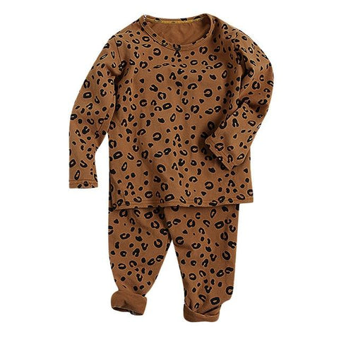 Image of Little Bumper Children Clothes Brown / 3T / United States Babies Leopard  Sleepwear Outfits Set