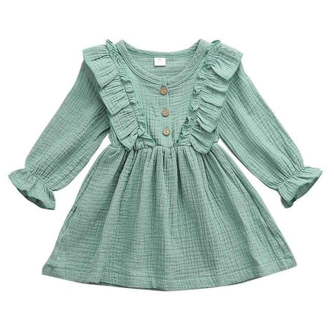 Image of Little Bumper Children Clothes Green / 2T Ruffles Long Sleeve Solid Cotton Dress
