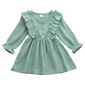 Little Bumper Children Clothes Green / 2T Ruffles Long Sleeve Solid Cotton Dress