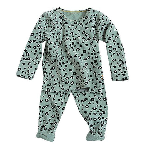 Image of Little Bumper Children Clothes Green / 2T / United States Babies Leopard  Sleepwear Outfits Set