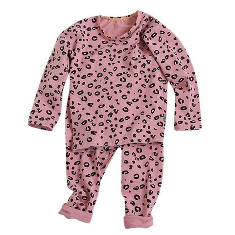 Image of Little Bumper Children Clothes Pink / 4T / United States Babies Leopard  Sleepwear Outfits Set