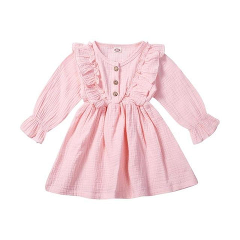 Image of Little Bumper Children Clothes Pink / 5T Ruffles Long Sleeve Solid Cotton Dress