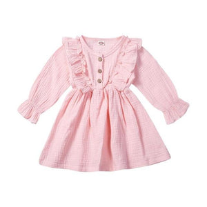 Little Bumper Children Clothes Pink / 5T Ruffles Long Sleeve Solid Cotton Dress