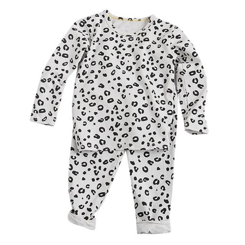 Image of Little Bumper Children Clothes White / 5T / United States Babies Leopard  Sleepwear Outfits Set