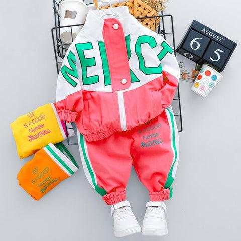 Image of Little Bumper Daddies Clothes Red no Shoes / 4T / CN Tracksuit Long Sleeve Letter Zipper Sets