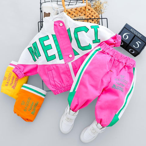 Image of Little Bumper Daddies Clothes Tracksuit Long Sleeve Letter Zipper Sets