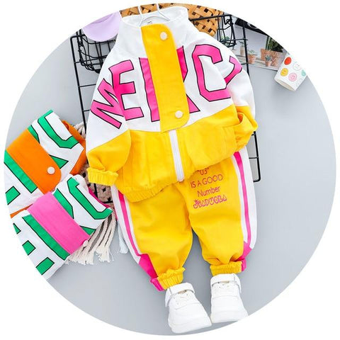 Image of Little Bumper Daddies Clothes Yellow no Shoes / 24M / CN Tracksuit Long Sleeve Letter Zipper Sets
