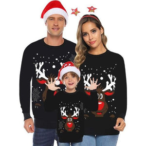 Little Bumper Family Matching Clothes Black / Dad M / United States Family Matching  Christmas Sweaters Deer Print