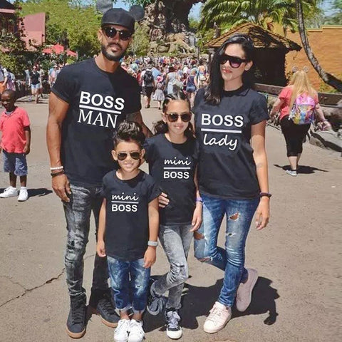 Image of Little Bumper Family Matching Clothes Boss Man Lady Mini Family Matching Printed Tops