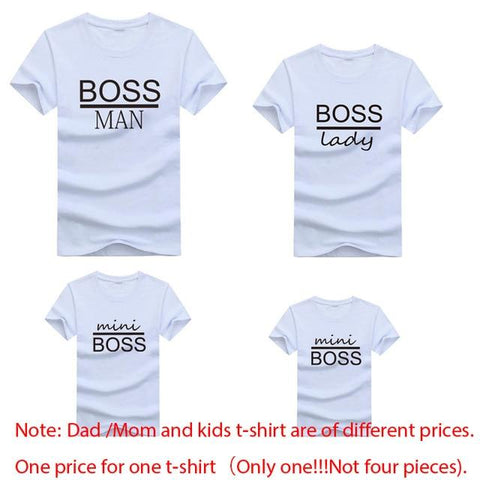 Image of Little Bumper Family Matching Clothes family t-shirt boss2 / mother XXL (1PCS) Boss Man Lady Mini Family Matching Printed Tops