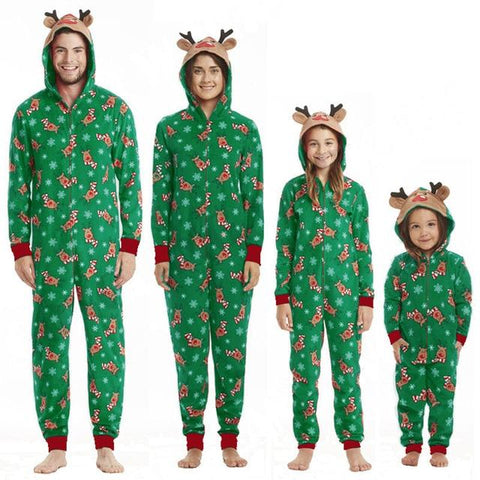 Image of Little Bumper Family Matching Clothes Green / Baby 3M / United States Christmas Family Matching Rompers Pajamas