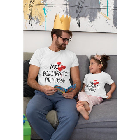 "Little Bumper Family Matching Clothes ""My Heart Belongs To Princess"" & ""My Heart Belongs To Daddy"" Matching Father Daughter Tess"