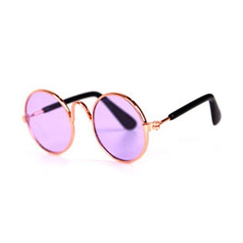 Little Bumper Fur Babies round purple / United States Cat Dog Pet Sun Glasses