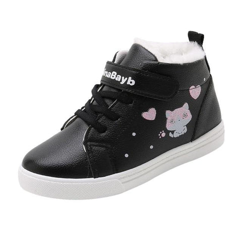 Little Bumper Girl Shoes Black / 35 / United States Warm Soft Cartoon Cat Short Boots