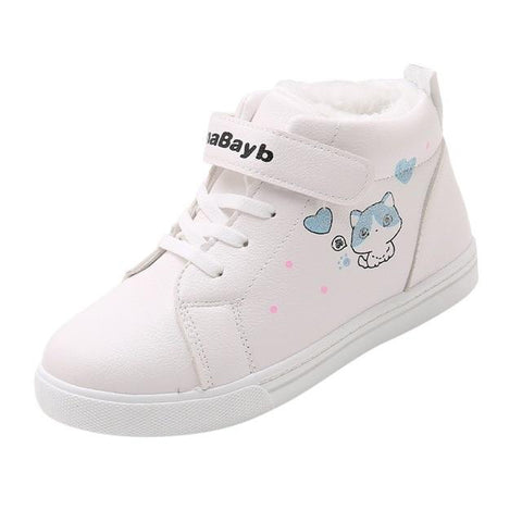 Little Bumper Girl Shoes White / 29 / United States Warm Soft Cartoon Cat Short Boots