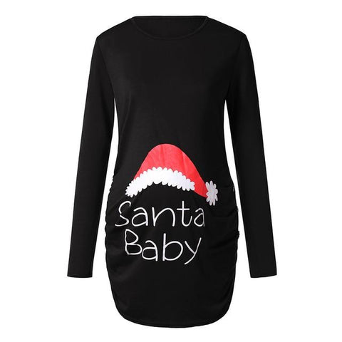 Image of Little Bumper Girls Clothes BK / XXL / United States Pregnant Woman  Long Sleeve T Shirt Dress