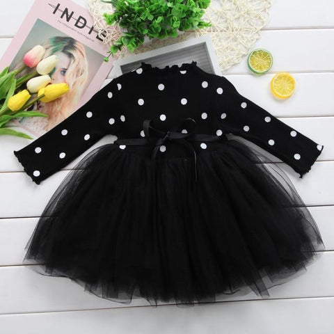Image of Little Bumper Girls Clothes Black / Newborn Long Sleeve Dotted Baby Girl Dress