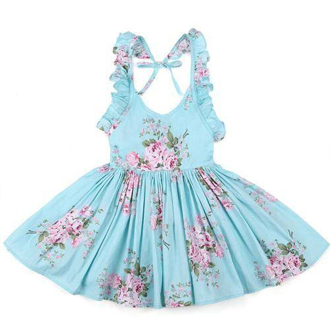 Little Bumper Girls Clothes blue / 2T / United States Summer Beach Style Floral Print Party Backless Dresses For Girls