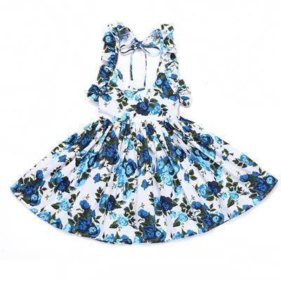 Little Bumper Girls Clothes deep blue / 12M / United States Summer Beach Style Floral Print Party Backless Dresses For Girls