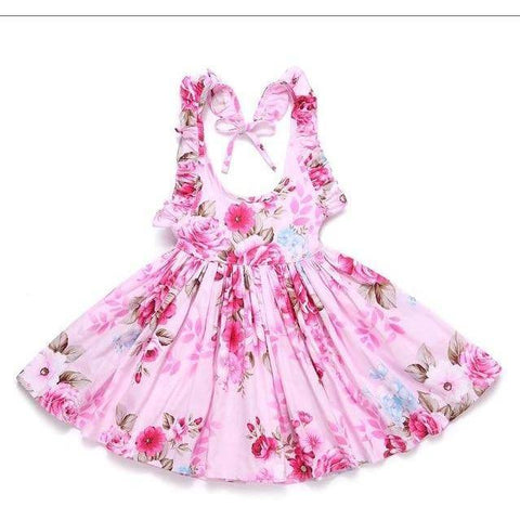 Little Bumper Girls Clothes deep pink / 12M / United States Summer Beach Style Floral Print Party Backless Dresses For Girls