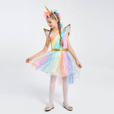 Little Bumper Girls Clothes Girls Unicorn Costume Princess Dress with Headband