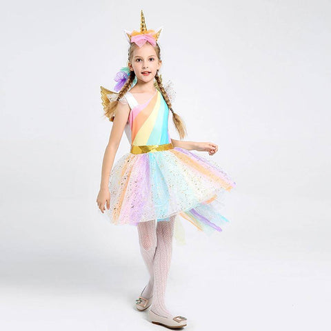 Image of Little Bumper Girls Clothes Girls Unicorn Costume Princess Dress with Headband