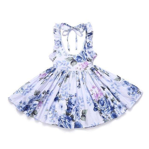 Little Bumper Girls Clothes gray blue / 7 / United States Summer Beach Style Floral Print Party Backless Dresses For Girls