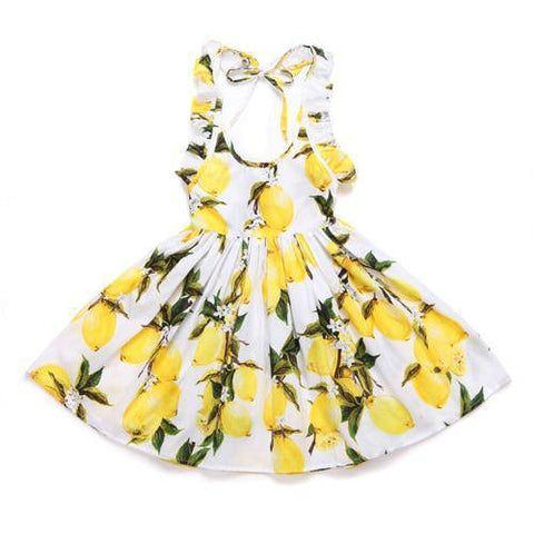 Little Bumper Girls Clothes lemon / 3T / United States Summer Beach Style Floral Print Party Backless Dresses For Girls