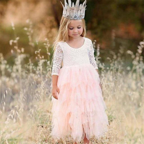 Little Bumper Girls Clothes Pink-1-LS / 2T / United States Lace Princess Irregular Tutu Dress