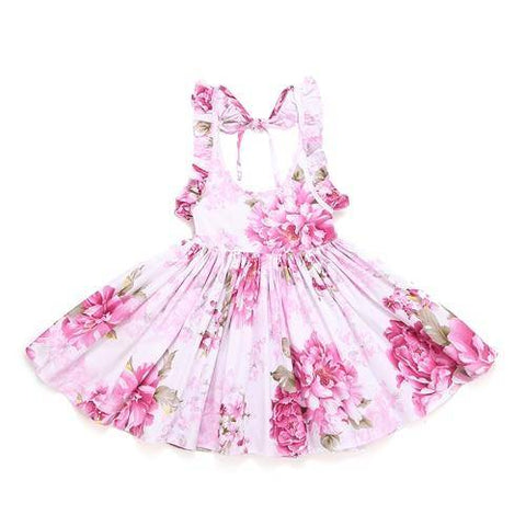 Little Bumper Girls Clothes pink / 12M / United States Summer Beach Style Floral Print Party Backless Dresses For Girls