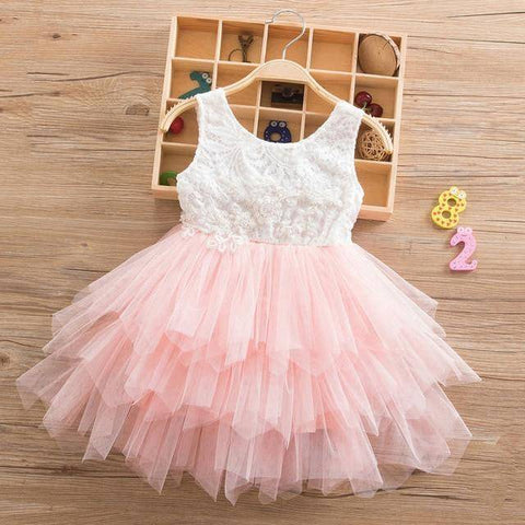 Little Bumper Girls Clothes Pink-2-SL / 3T / United States Lace Princess Irregular Tutu Dress