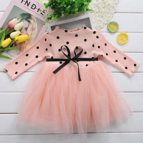 Image of Little Bumper Girls Clothes Pink / Newborn Long Sleeve Dotted Baby Girl Dress