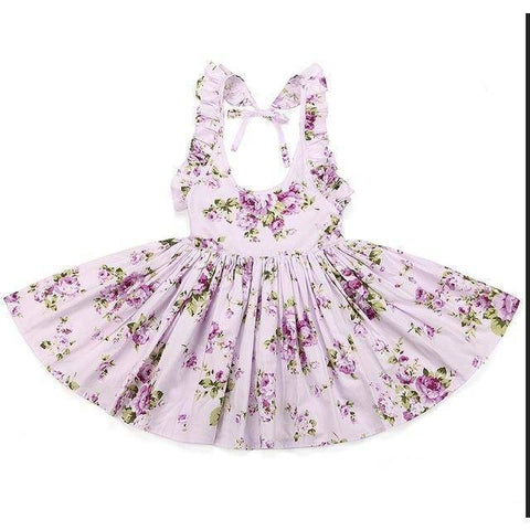 Little Bumper Girls Clothes purple 1 / 12M / United States Summer Beach Style Floral Print Party Backless Dresses For Girls