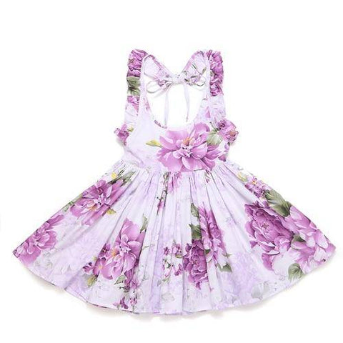 Little Bumper Girls Clothes purple / 12M / United States Summer Beach Style Floral Print Party Backless Dresses For Girls