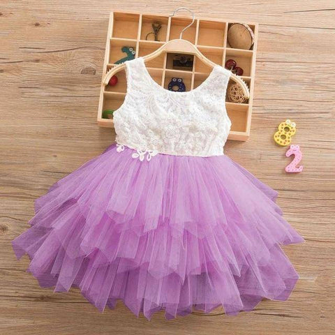 Little Bumper Girls Clothes Purple-2-SL / 3T / United States Lace Princess Irregular Tutu Dress