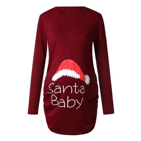 Image of Little Bumper Girls Clothes RD / S / United States Pregnant Woman  Long Sleeve T Shirt Dress