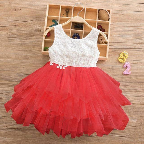Little Bumper Girls Clothes Red-2-SL / 3T / United States Lace Princess Irregular Tutu Dress