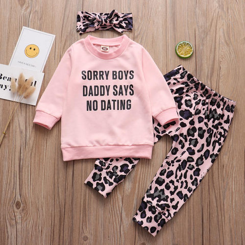 Little Bumper Girls Clothes Sorry Boys Daddy Says No Dating Baby Girls Clothing Set