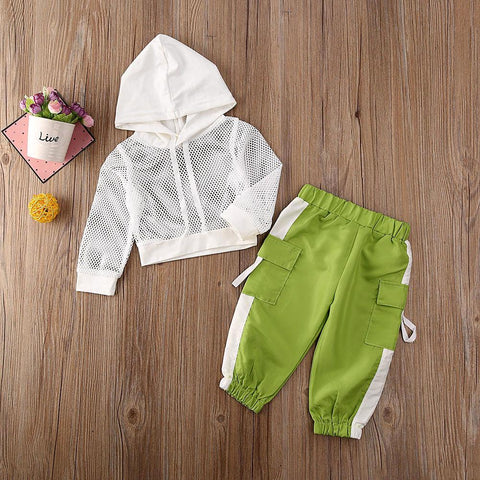 Image of Little Bumper Girls Clothes Toddler Girls Hooded Top & Pants Tracksuit Set