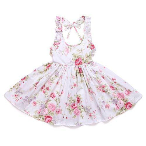 Little Bumper Girls Clothes white / 12M / United States Summer Beach Style Floral Print Party Backless Dresses For Girls