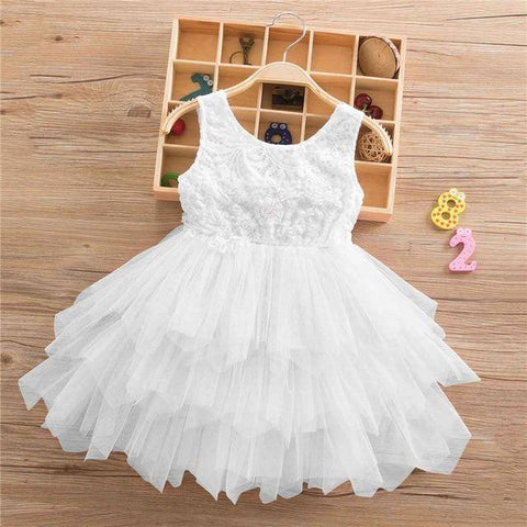 Little Bumper Girls Clothes White-2-SL / 3T / United States Lace Princess Irregular Tutu Dress